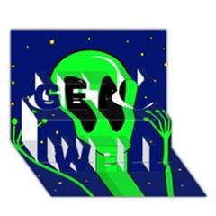 Alien  Get Well 3d Greeting Card (7x5)