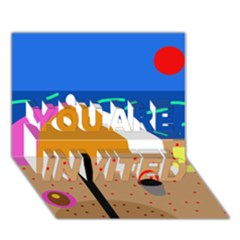 On the beach  YOU ARE INVITED 3D Greeting Card (7x5)