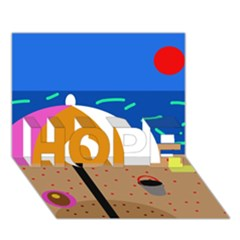 On the beach  HOPE 3D Greeting Card (7x5)