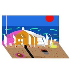 On the beach  BELIEVE 3D Greeting Card (8x4)