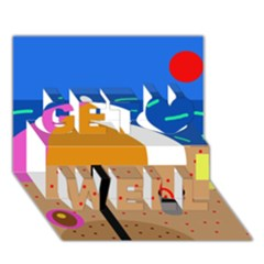 On the beach  Get Well 3D Greeting Card (7x5)
