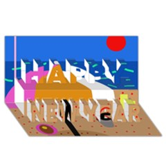 On the beach  Happy New Year 3D Greeting Card (8x4)