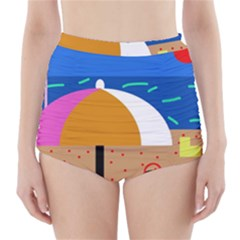 On the beach  High-Waisted Bikini Bottoms