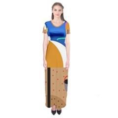 On The Beach  Short Sleeve Maxi Dress