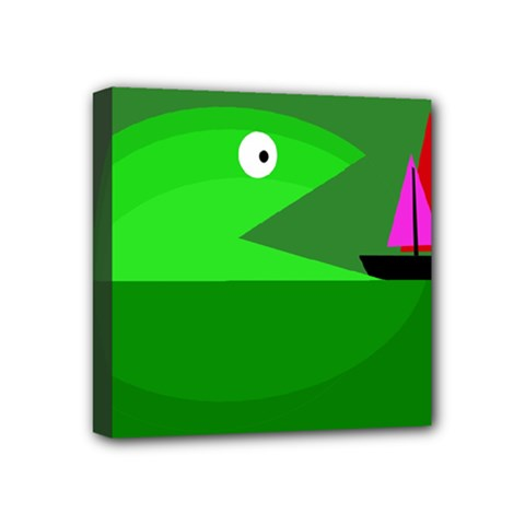 Green monster fish Mini Canvas 4  x 4