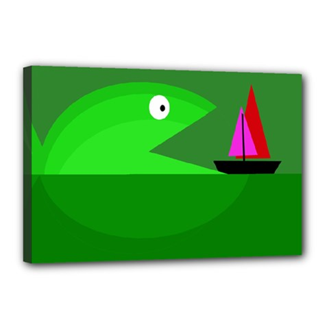 Green monster fish Canvas 18  x 12