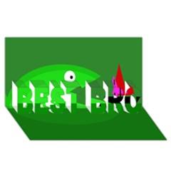 Green monster fish BEST BRO 3D Greeting Card (8x4)