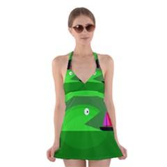 Green Monster Fish Halter Swimsuit Dress