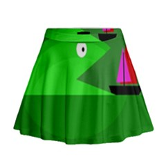 Green Monster Fish Mini Flare Skirt