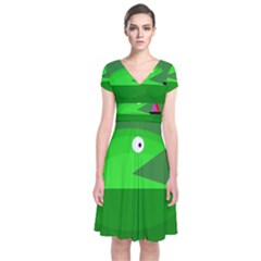 Green Monster Fish Short Sleeve Front Wrap Dress