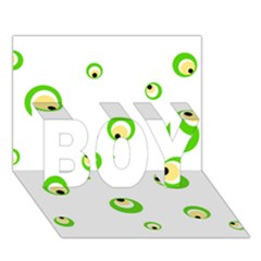 Green eyes BOY 3D Greeting Card (7x5)