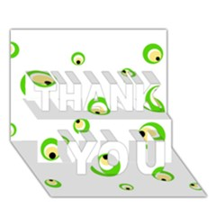 Green eyes THANK YOU 3D Greeting Card (7x5)