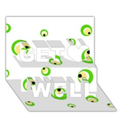 Green eyes Get Well 3D Greeting Card (7x5)