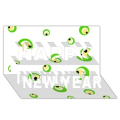 Green eyes Happy New Year 3D Greeting Card (8x4)