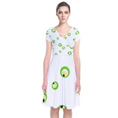 Green Eyes Short Sleeve Front Wrap Dress