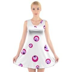Purple Eyes V Neck Sleeveless Skater Dress