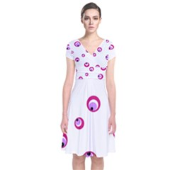 Purple Eyes Short Sleeve Front Wrap Dress