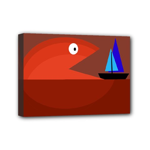 Red monster fish Mini Canvas 7  x 5