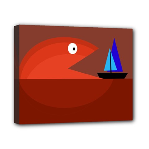 Red monster fish Canvas 10  x 8