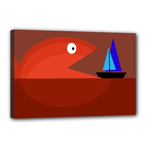Red monster fish Canvas 18  x 12