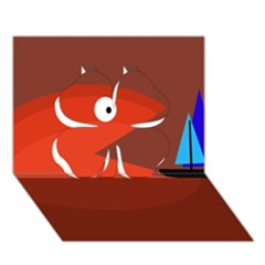 Red monster fish Clover 3D Greeting Card (7x5)