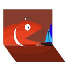 Red monster fish Circle 3D Greeting Card (7x5)