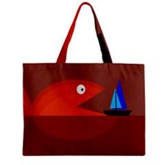 Red monster fish Zipper Mini Tote Bag