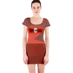 Red monster fish Short Sleeve Bodycon Dress