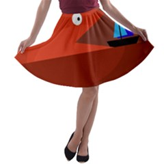 Red monster fish A-line Skater Skirt