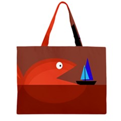 Red monster fish Large Tote Bag