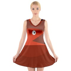 Red monster fish V-Neck Sleeveless Skater Dress