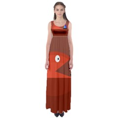 Red monster fish Empire Waist Maxi Dress