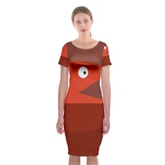 Red Monster Fish Classic Short Sleeve Midi Dress