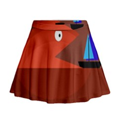 Red Monster Fish Mini Flare Skirt