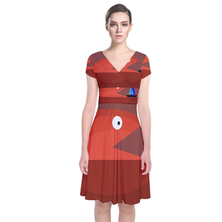 Red monster fish Short Sleeve Front Wrap Dress
