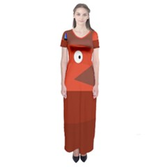 Red Monster Fish Short Sleeve Maxi Dress