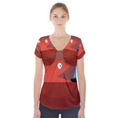 Red Monster Fish Short Sleeve Front Detail Top