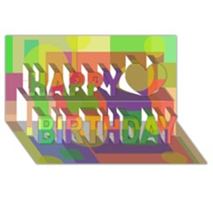Colorful geometrical design Happy Birthday 3D Greeting Card (8x4)