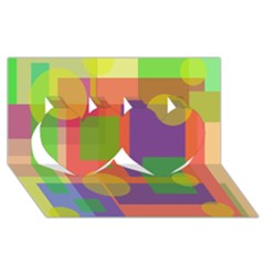 Colorful geometrical design Twin Hearts 3D Greeting Card (8x4)