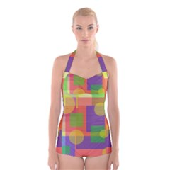 Colorful geometrical design Boyleg Halter Swimsuit