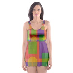 Colorful Geometrical Design Skater Dress Swimsuit