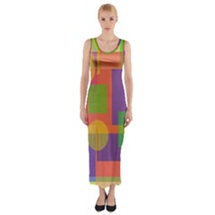 Colorful geometrical design Fitted Maxi Dress