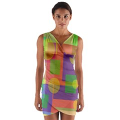 Colorful geometrical design Wrap Front Bodycon Dress