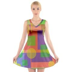 Colorful geometrical design V-Neck Sleeveless Skater Dress