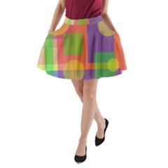 Colorful geometrical design A-Line Pocket Skirt