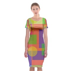 Colorful Geometrical Design Classic Short Sleeve Midi Dress