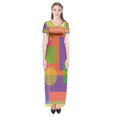 Colorful Geometrical Design Short Sleeve Maxi Dress