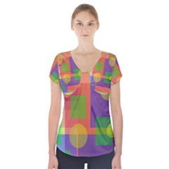 Colorful Geometrical Design Short Sleeve Front Detail Top