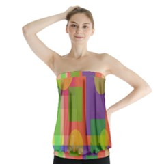 Colorful Geometrical Design Strapless Top