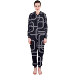 Black And Gray Decorative Design Hooded Jumpsuit (ladies)